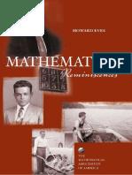 Mathematical Reminiscences - Howard Eves
