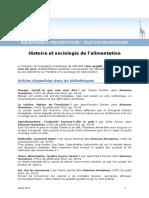Biblio Histoire Et Sociologie Alimentation