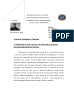 Gerencia de Operaciones de Producción Hoy día en Venezuela ( Convenio UNEG-UDO)