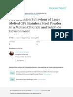 Hot Corrosion Behaviour of Laser Melted GP1