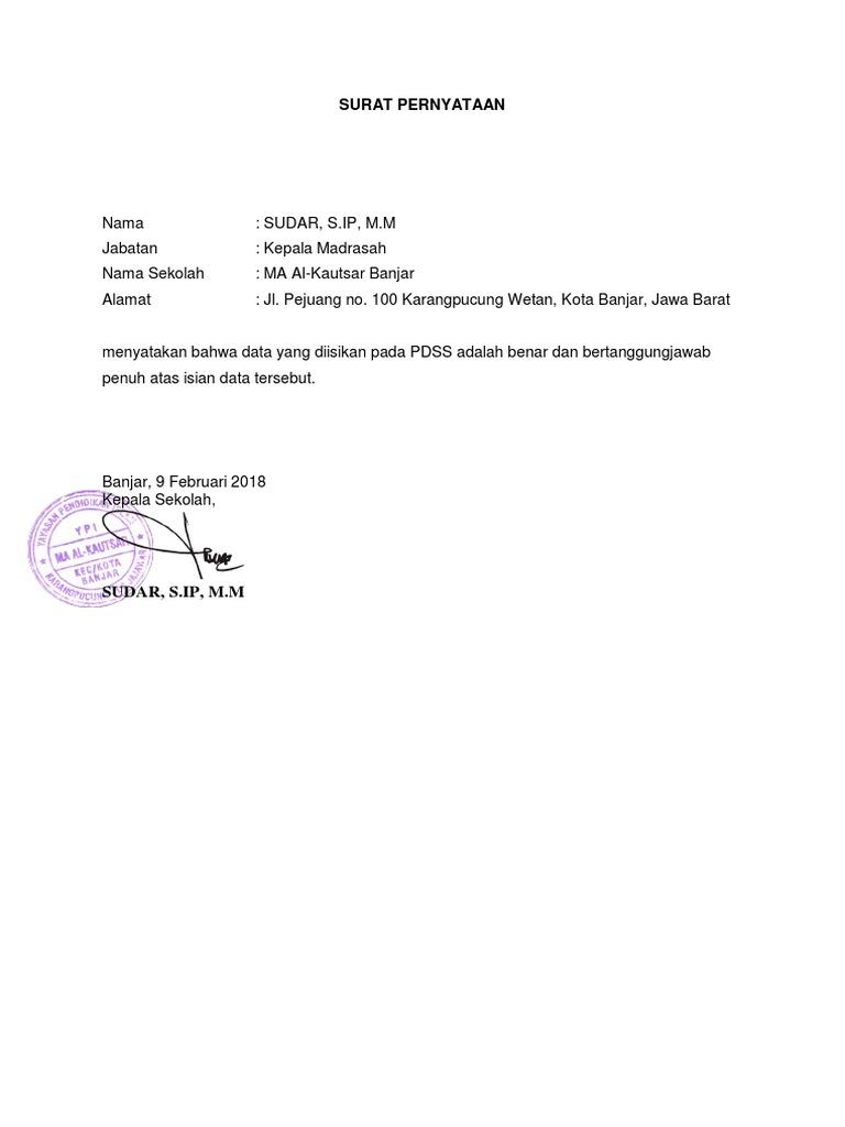 Contoh Surat Pernyataan Nilai Di Pdss