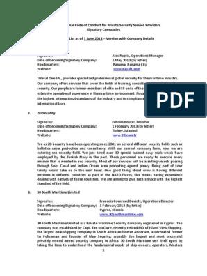 Icoc Signatory Companies June 2013 | Emergency Management