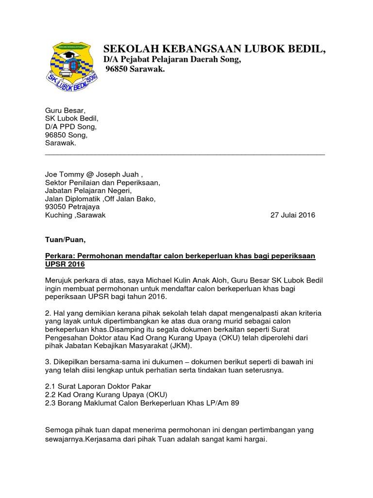 Surat Mendaftar Calon Berkeperluan Khas Upsr 2016