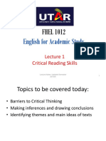Lecture 1 - Critical Reading Skills I - Student Copy