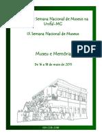 Actas de La III Semana Nacional de Museus Na Unifal-MG. Museu e Memória. 2011