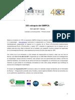 XXIeme Coloquio GMPCA 1ra Circular Espanol