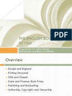 The English Book Trade to 1800