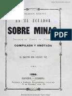 Legislación vigente en el Ecuador sobre minas, inclusive el Código de Minería.