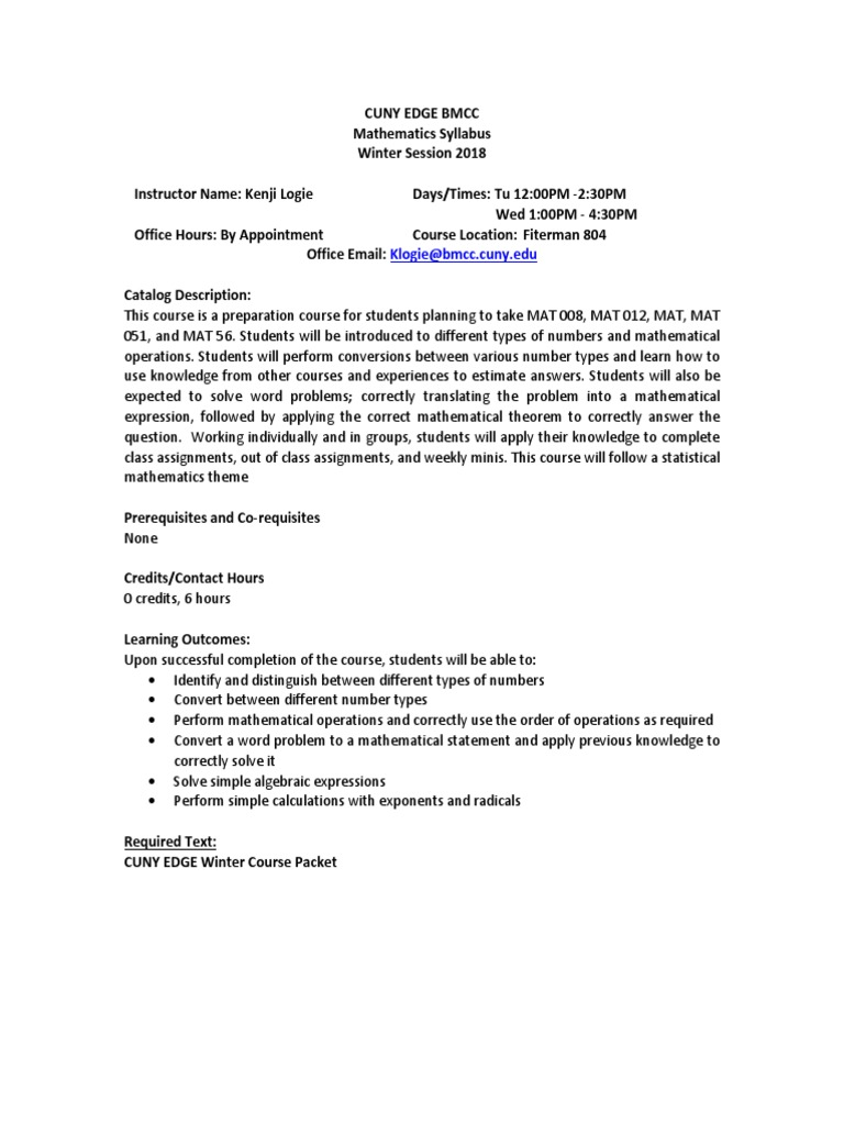CUNY EDGE Mathematics Winter Syllabus Alternate pdf