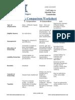 entity comparison worksheet