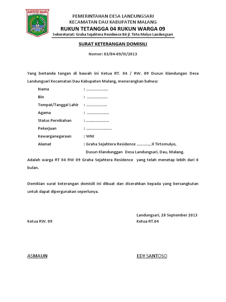 Surat Permohonan Domisili Ke Kelurahan Suratmenuhargacom