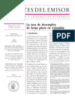 La tasa de desempleo de largo plazo en Colombia