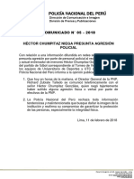COMUNICADO PNP N° 05 - 2018