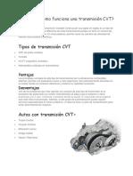 Qué Es y Cómo Funciona Una Transmisión CVT