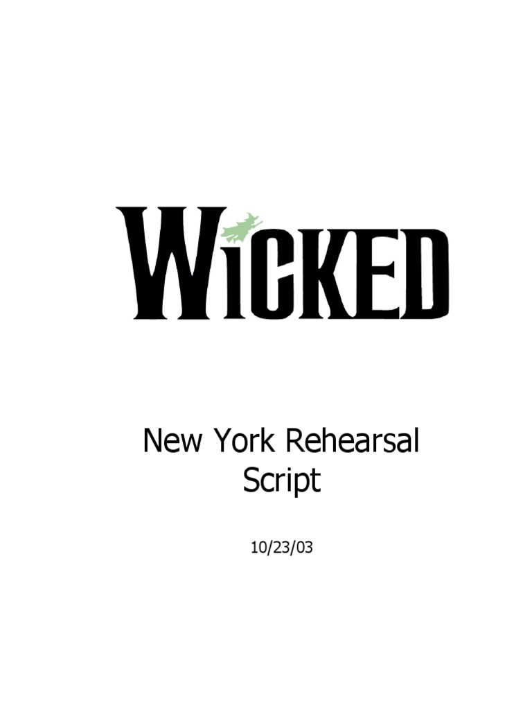 Wicked Broadway Libretto pdf | Glinda The Good Witch | Plays