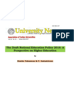 The Draft National Education Policy 2016 a Perspective on Higher Education
