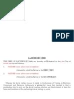 Format of Partnership Deed
