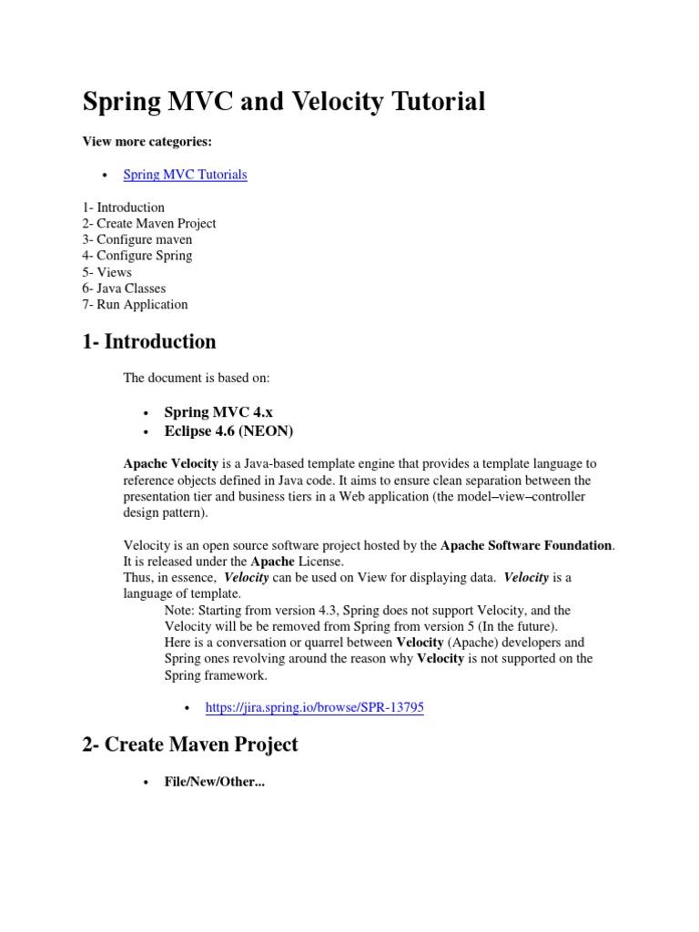 13 Spring MVC and Velocity Tutorial | Spring Framework