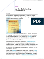 Script During the Culminating Program – Teacher Cel