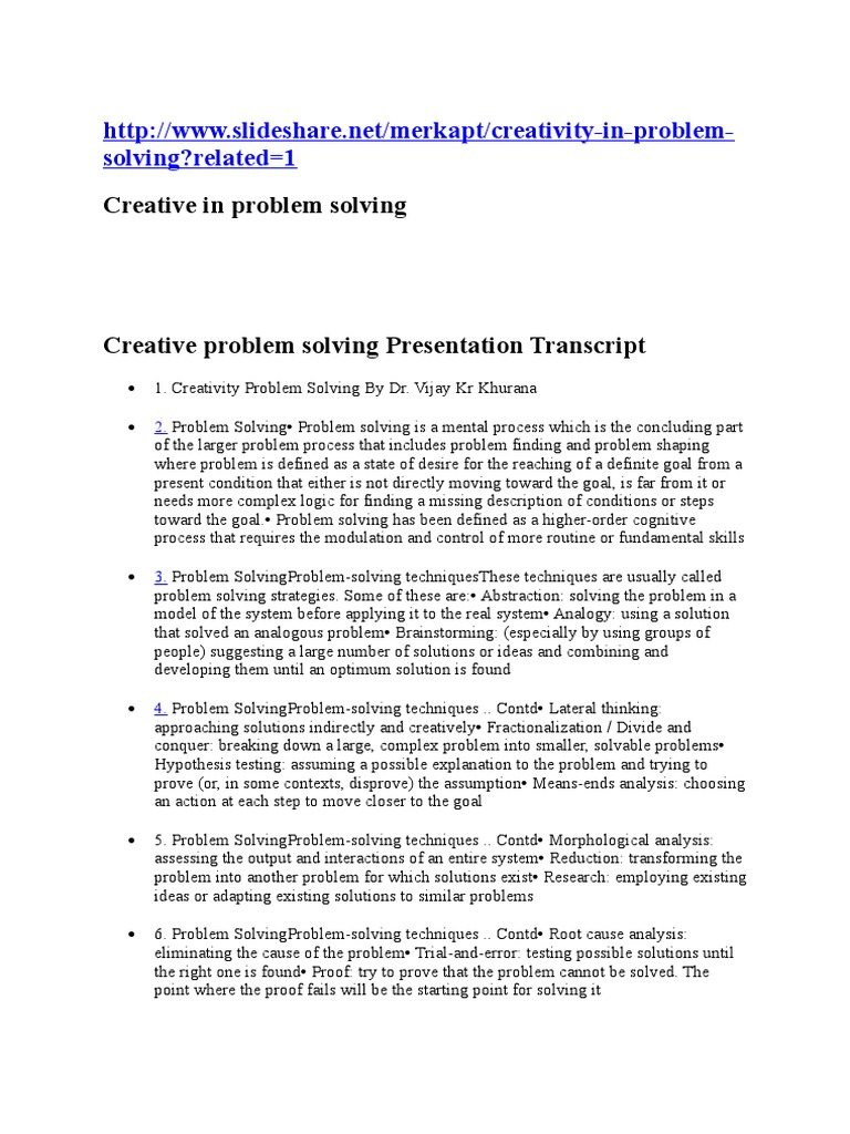solving problems creatively