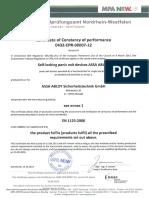 Certificate of Constancy of Performance DIN en 1125 309X602PZ 1