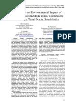 A study on Environmental Impact of Madukkarai limestone mine, Coimbatore