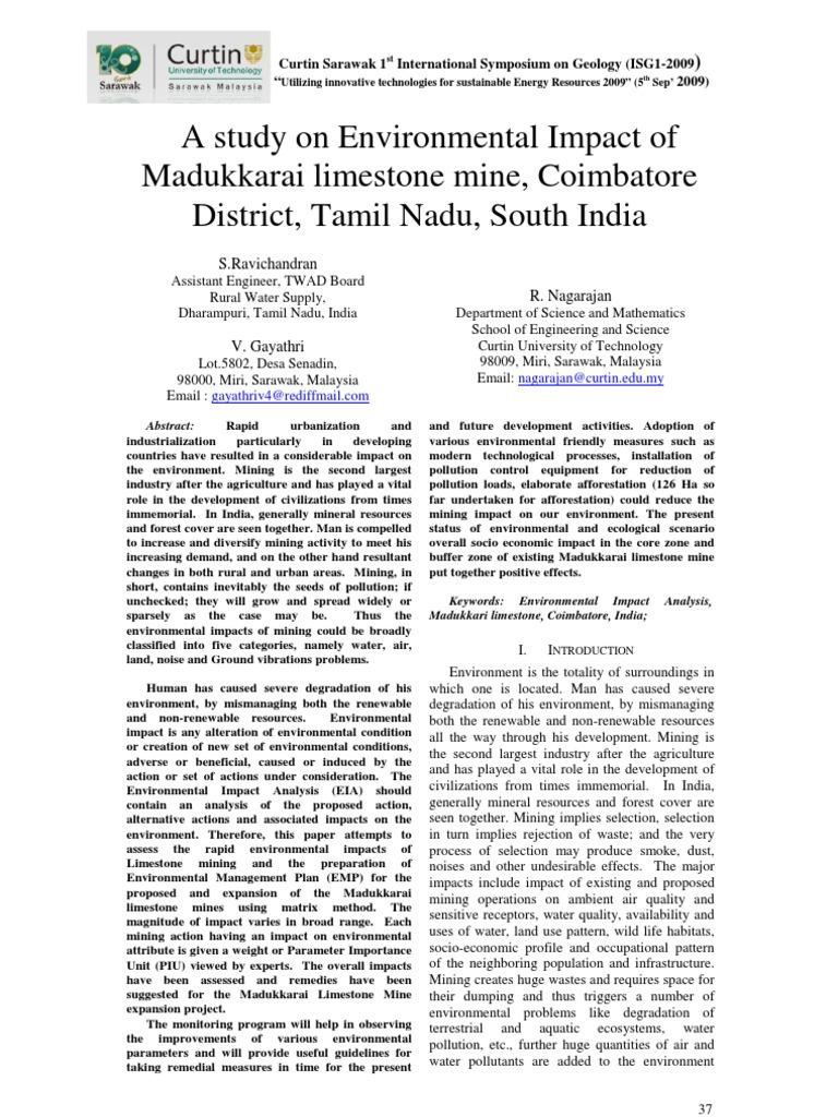 A study on Environmental Impact of Madukkarai limestone mine
