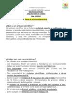 El Articulo Cientifico.-caracteristicas, Estructura y Requisitos de Presentaciòn