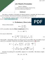 Block Matrix Formulas