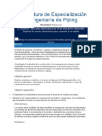 Diplomatura de Especialización en Ingeniería de Piping
