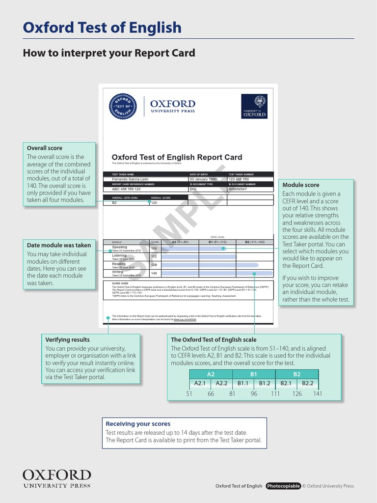 how to interpret your report card oxford test of english