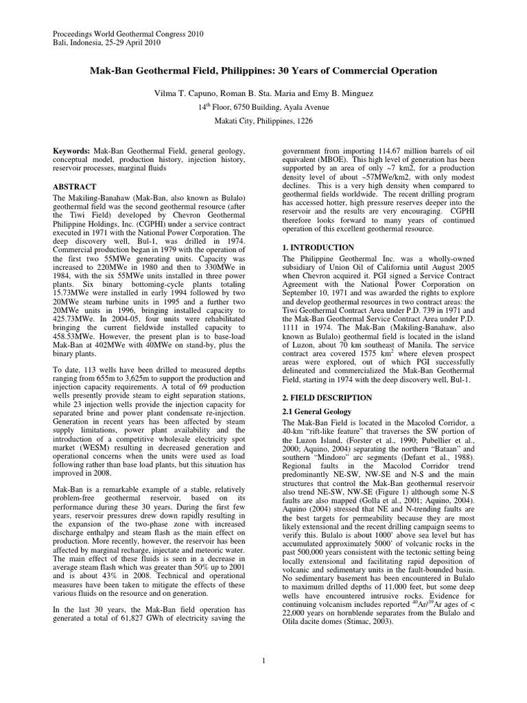 makban geothermal power plant pdf | Geothermal Energy