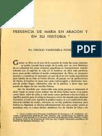 Valenzuela Foved, Virgilio. Presencia de María en Aragón y en Su Historia.