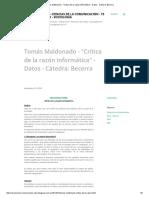 Tomás Maldonado - Crítica de La Razón Informática_ 1998