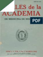 Anales de La Academia de Medicina de Medellín, Vol. 1, No. 1. Marzo. 1992. Quinta Época.