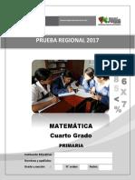 Evaluacion de Proceso Matematica 2017 4º Primaria