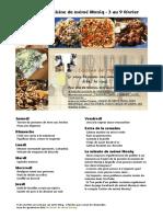 menu de la cuisine de meme moniq 3 au 9 février