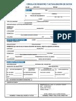 Cydula de Registro y Actualizaciyn de Datos