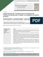 2013.Análisis Factorial Del Cuestionario Para La Evaluación Del Síndrome de Quemarse Por El Trabajo en Estudiantes de Medicina Peruanos