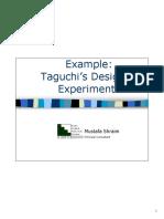 Taguchi Experiments design