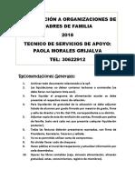 Capacitación a Organizaciones de Padres de Familia