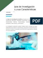 Los 15 Tipos de Investigación Científica y Sus Características