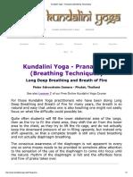 Kundalini Yoga - Pranayama (Breathing Techniques)