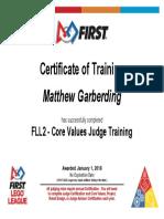 Matthew Garberding - FLL2 - Core Values Judge Training - Completion Certificate
