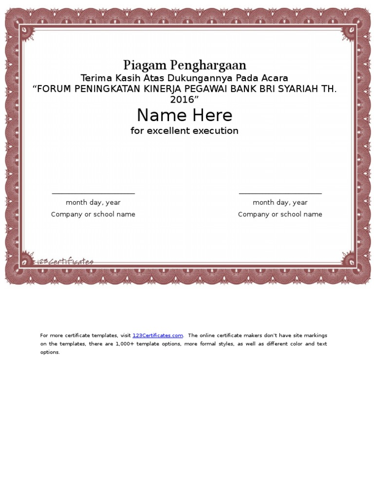 Certificate Templates For Word2
