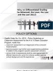 Localized Policy on Differentiated Grading System to the Advanced