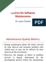 Metrics for softwa Maintenance