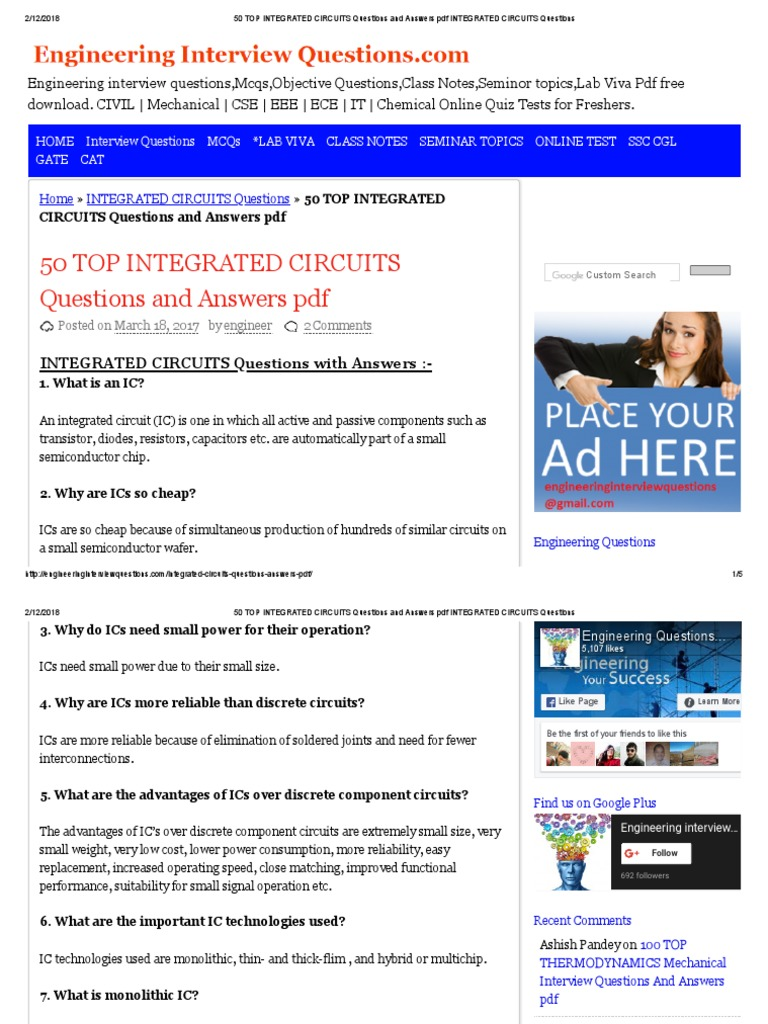 50 Top Integrated Circuits Questions And Answers Pdf Circuit Ic Basic Tutorial Wafer Electronics