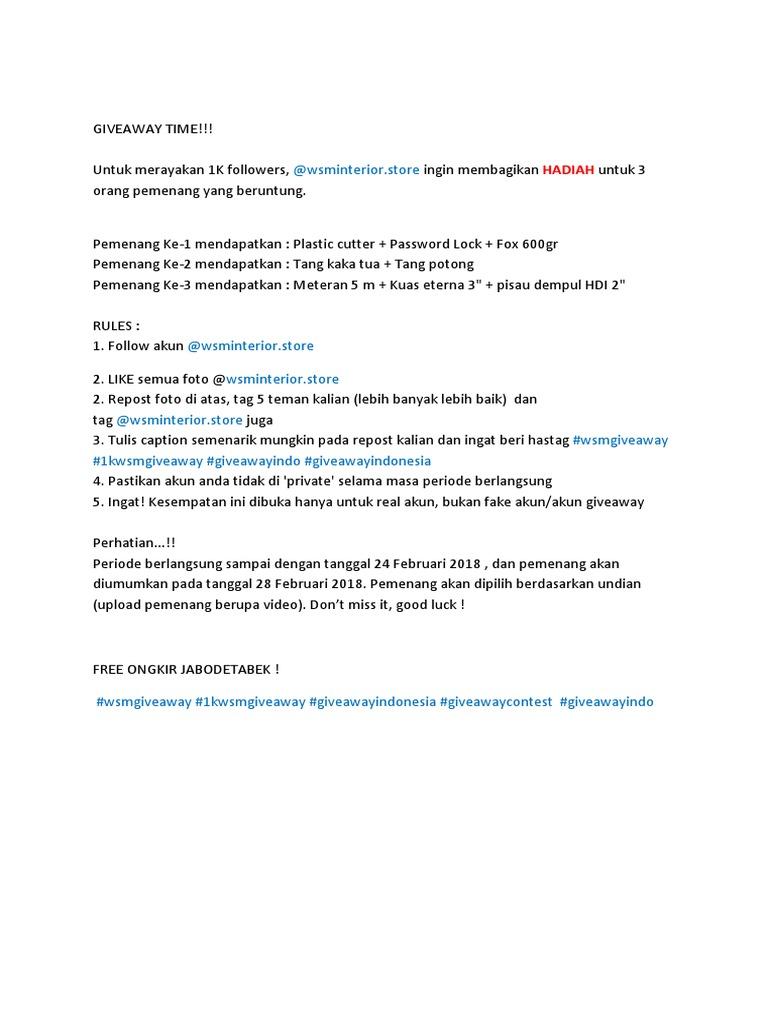 Giveaway Rules Meteran 5 Meter