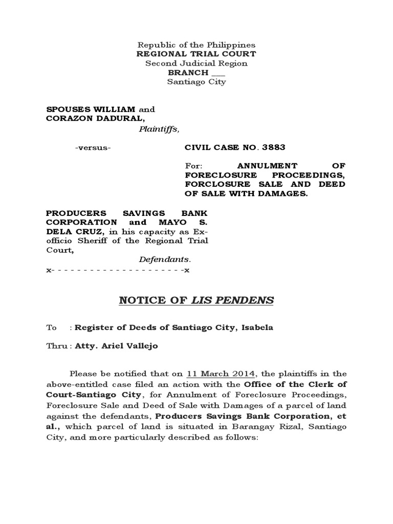 Notice of Lis Pendens   Foreclosure   Common Law